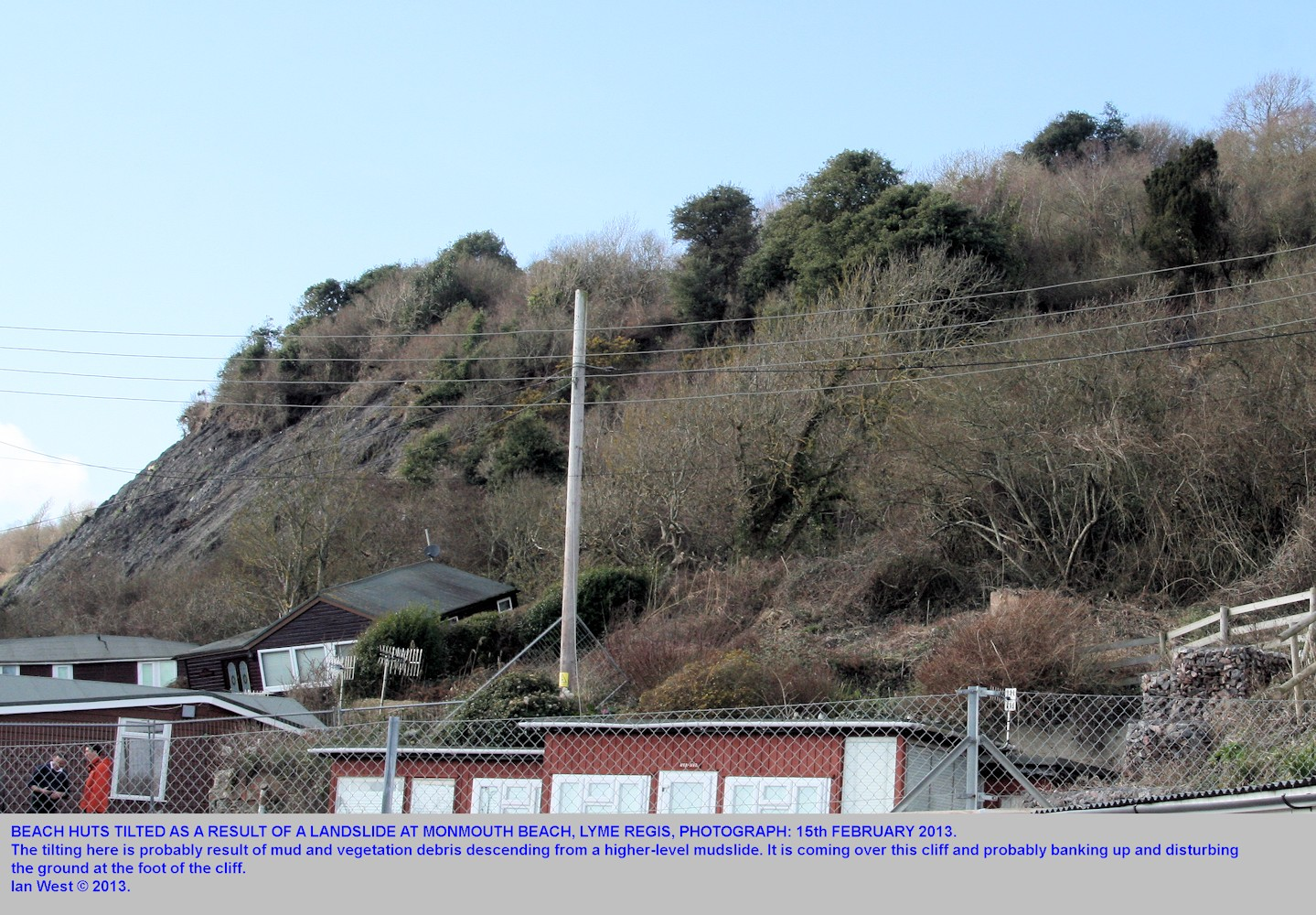 A tilted beach chalet at Monmouth Beach, Lyme Regis, Dorset, 15th February 2013