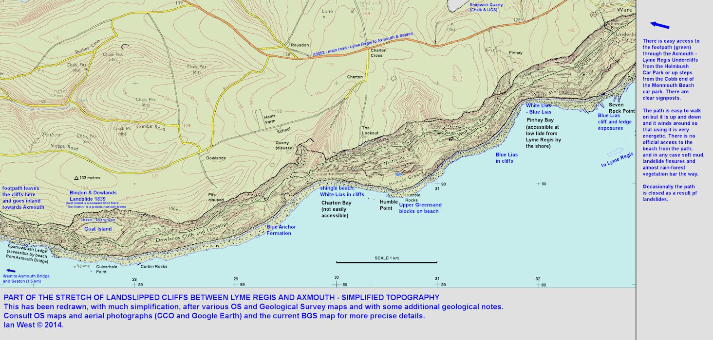 Redrawn and simplified topographic map of the Axmouth to Lyme Regis landlip cliffs, East Devon, with geological notes