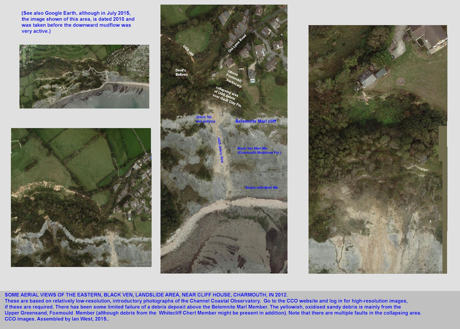 Aerial photographs showing mud-flow and seepage from the secondary reservoir in the Cliff House area, eastern end of Black Ven landslide, Charmouth, Dorset in 2012