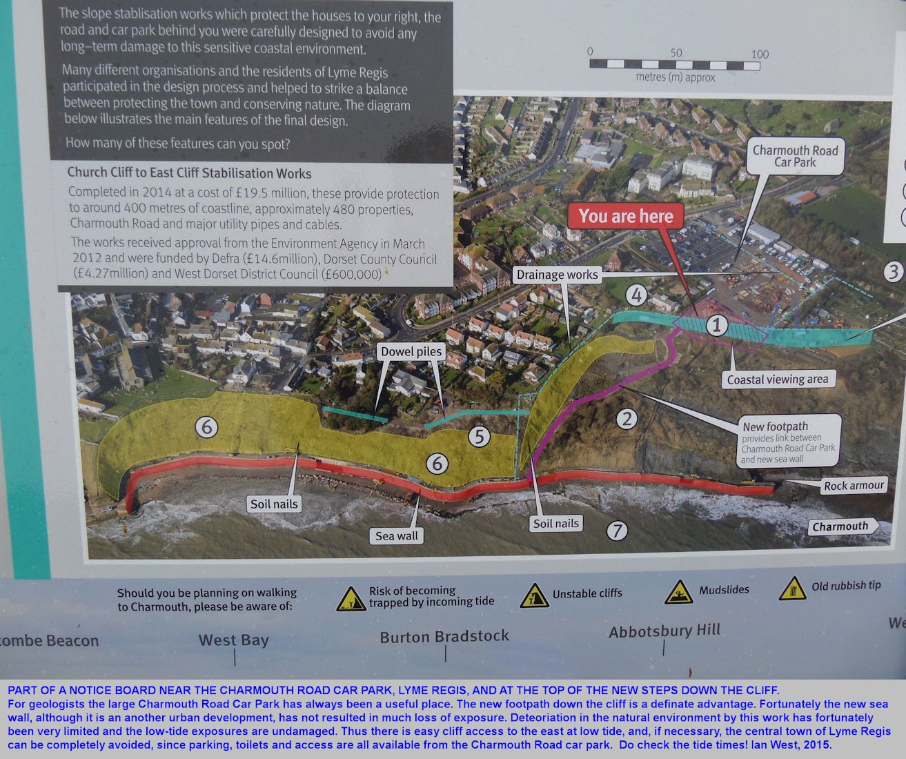 Guidance information about the new eastern sea defences of Lyme Regis, Dorset, as can be seen at the Charmouth Road car park, 2015