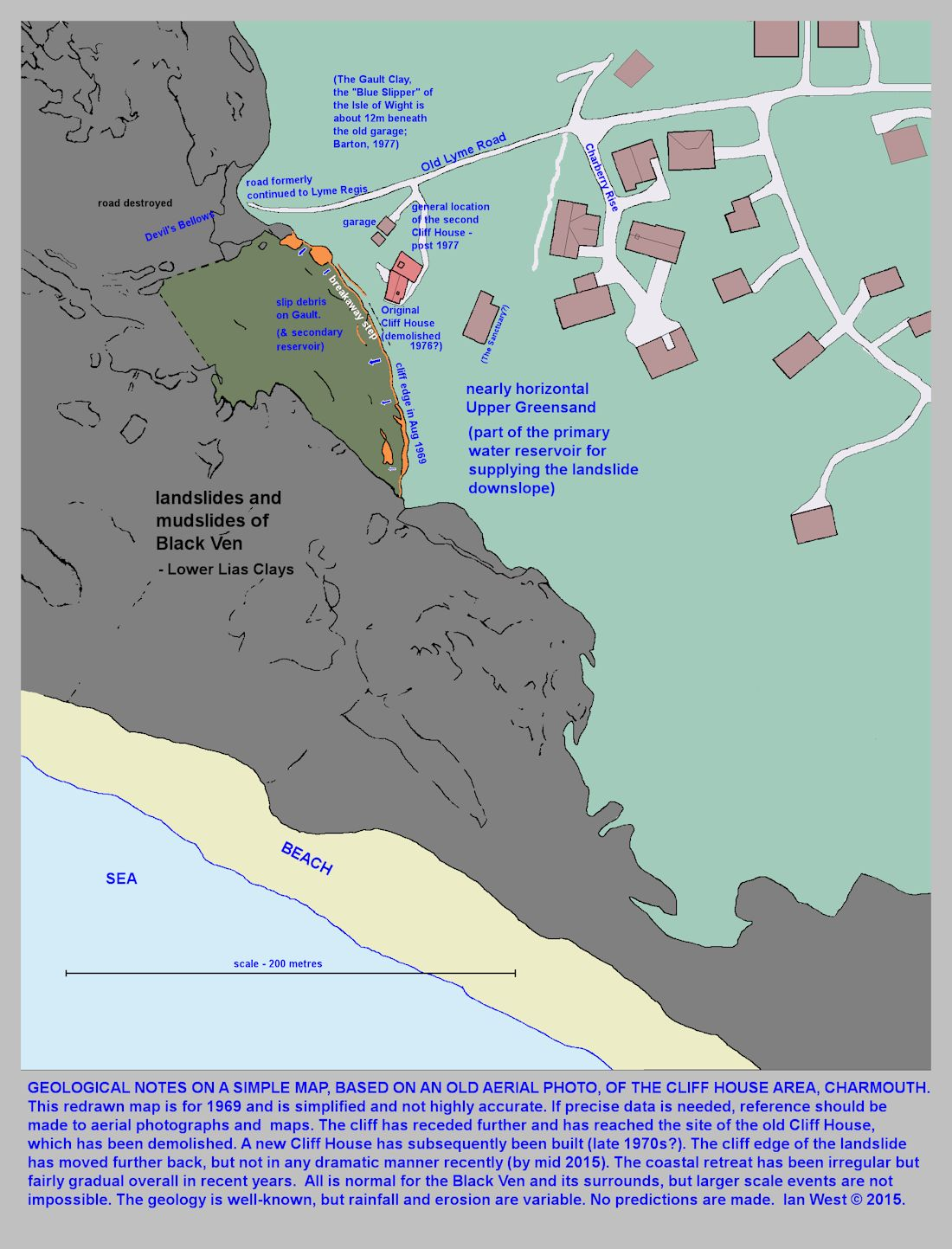 A simplified map, based on an aerial photograph of 1969, of the Cliff House area, adjacent to Black Ven, Charmouth, Dorset, with some explanatory notes