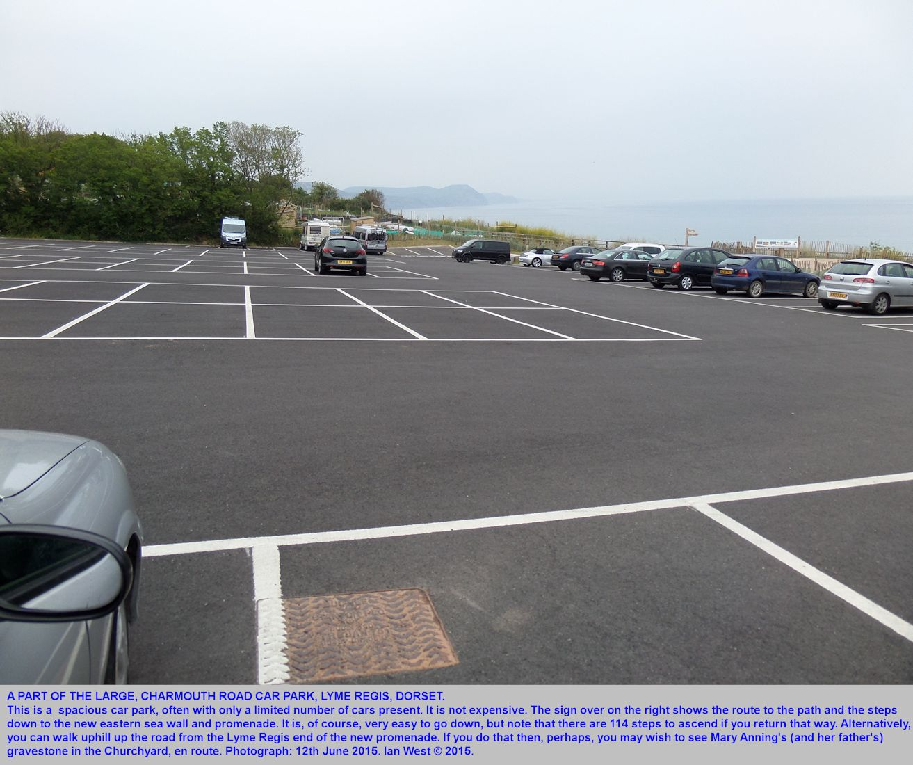 The Charmouth Road Car Park, on the eastern side of Lyme Regis, Dorset, in June 2015