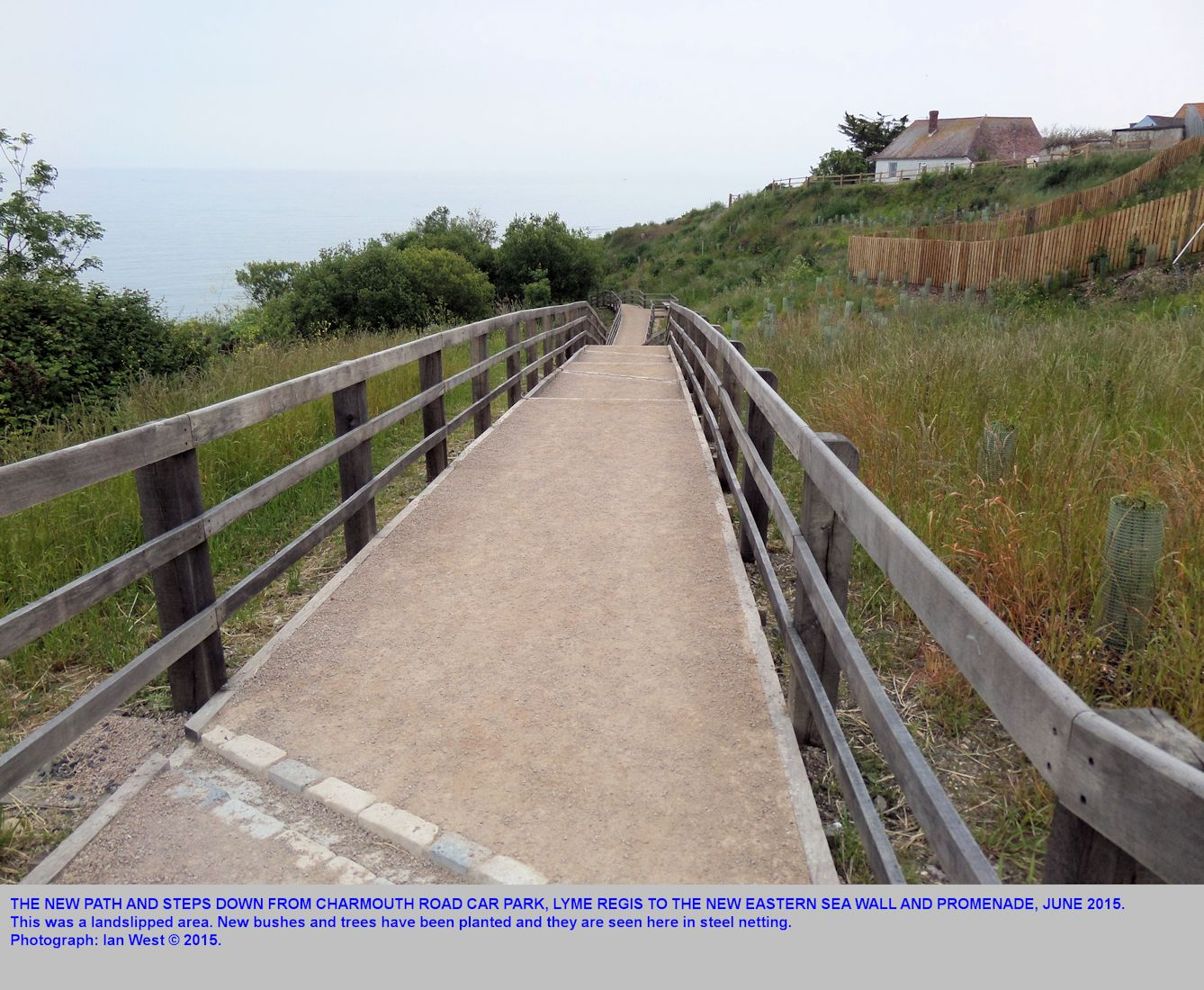 A new path down from the Charmouth Road car park, Lyme Regis, Dorset, to the new eastern sea wall and promenade, 12th June 2015