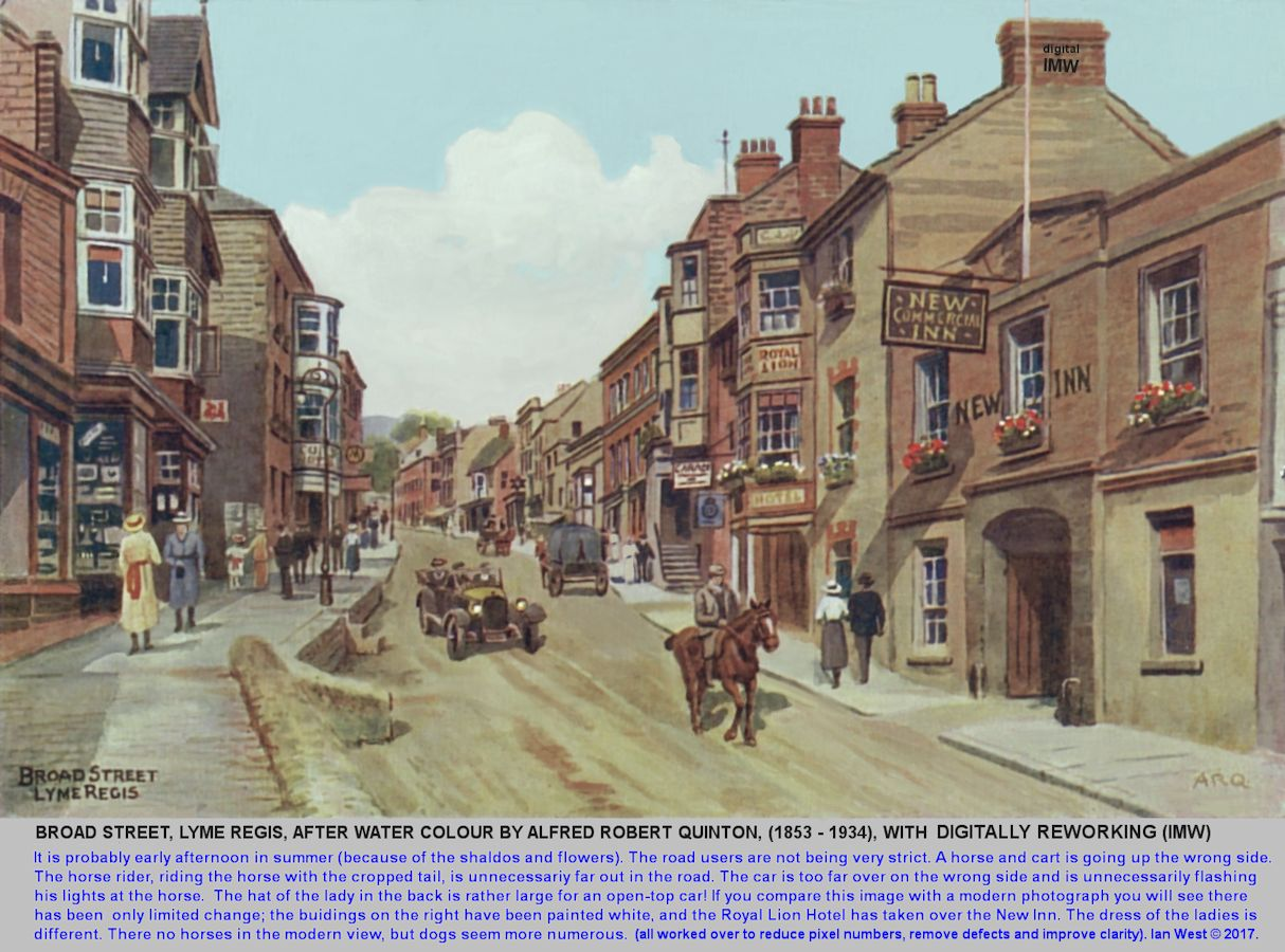 Broad Street, Lyme Regis, a modified, digital, image based on a watercolour by A.R. Quinton, in about the 1920s