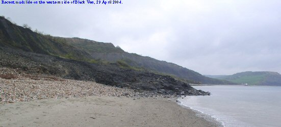 Recent mudslide blocking the beach west of Black Ven, Lyme Regis, Dorset