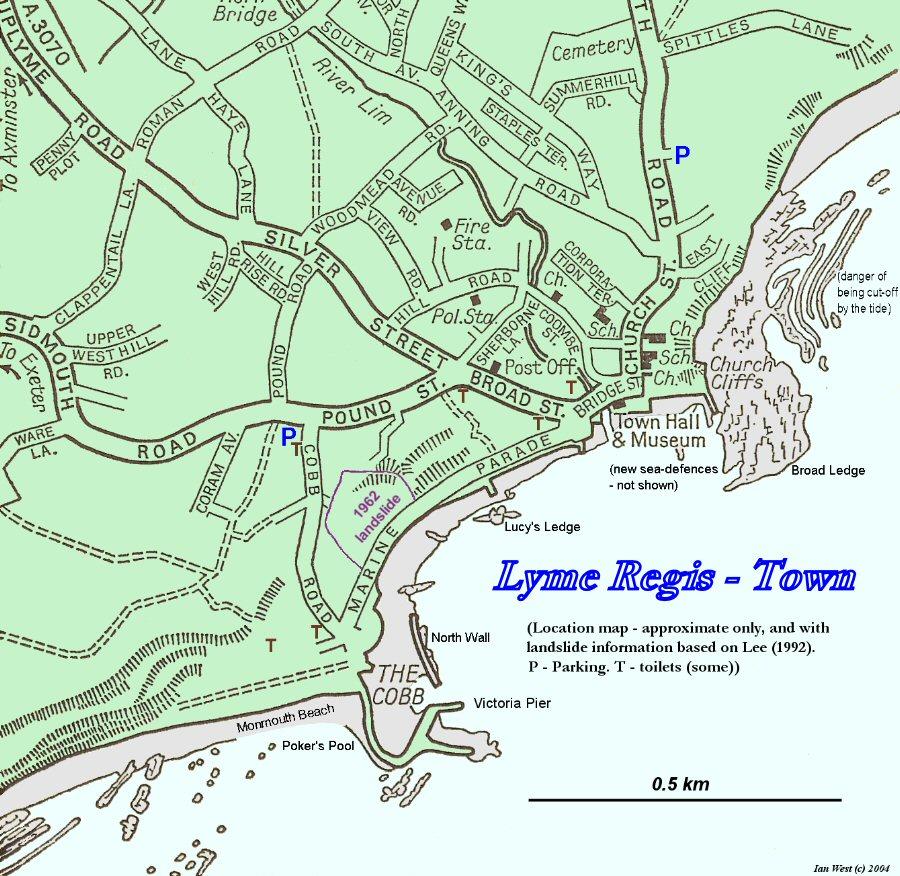 Map Of Lyme Regis Lyme Regis Seafront   Geology   by Ian West Map Of Lyme Regis