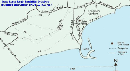 Some landslide locations at Lyme Regis, Dorset