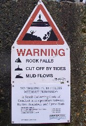 Warning of risks east of Lyme Regis, Dorset