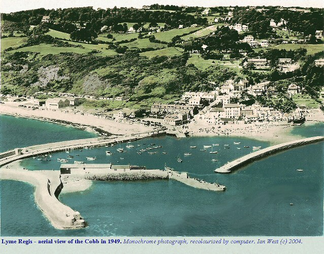 The Cobb, Lyme Regis, Dorset, seen from the air in 1949