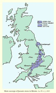 Main outcrops of Jurassic strata in the UK