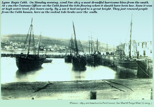 The Cobb at Lyme Regis, Dorset in the 19 Century; it was seriously damaged by the Hurricane and Storm Surge of 1824