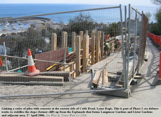 Stabilisation works on the east side of Cobb Road, Lyme Regis, Dorset, April 2006
