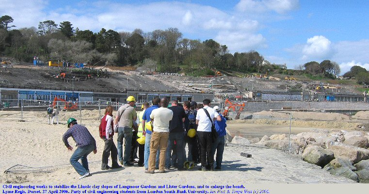 Civil Engineering works at Langmoor and Lister Gardens, Lyme Regis, Dorset in April 2006