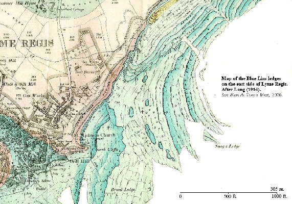 Map of the Blue Lias ledges on the east side of Lyme Regis, Dorset, after Lang (1914)