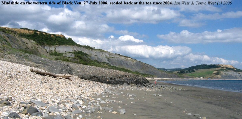 Mudslide at Black Ven, Lyme Regis, Dorset, showing erosion of the toe since 2004