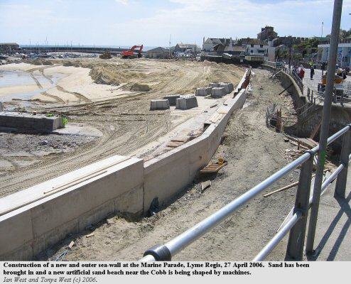 Construction of an additional sea wall and a sand beach at Lyme Regis, Dorset