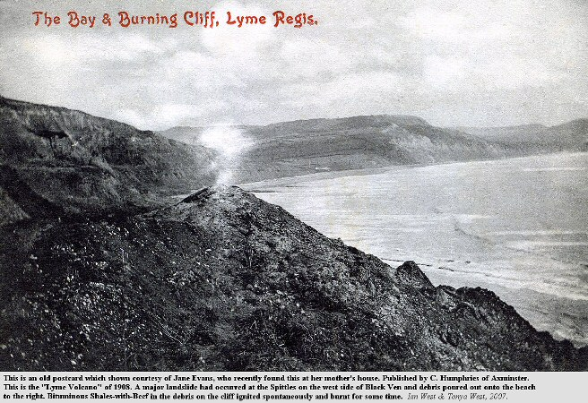 An old postcard showing the Burning Cliff at Lyme Regis, Dorset in 1908, courtesy of Jane Evans