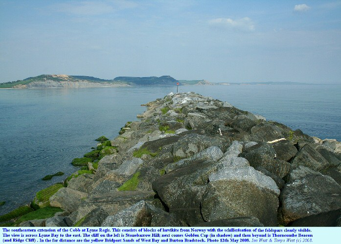 An extension to the Cobb, Lyme Regis, Dorset, of larvikite rock armour from Norway