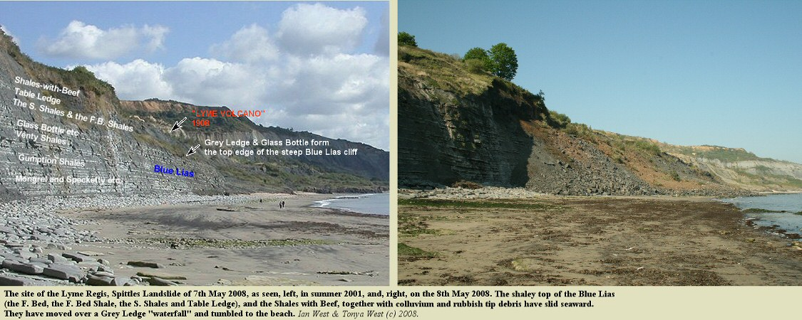 The site of the Spittles Landslide of 7th May 2008 at Lyme Regis, Dorset, shown in comparison with a photo of the cliffs in 2001