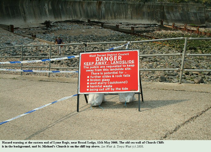 Warning sign for the hazards of the Spittles Landslide at Lyme Regis, Dorset, as seen on the 12th May 2008