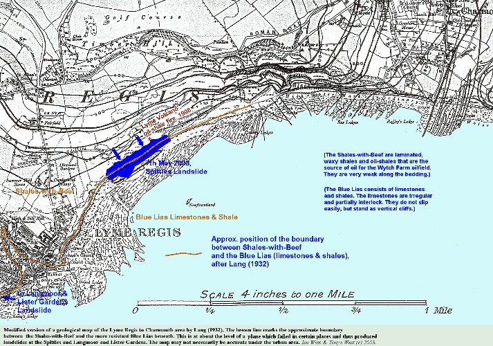 A geological map of of Lyme Regis to Charmouth, Dorset, modified to show the 7th May 2008, Spittles Landslide, and a plane of weakness