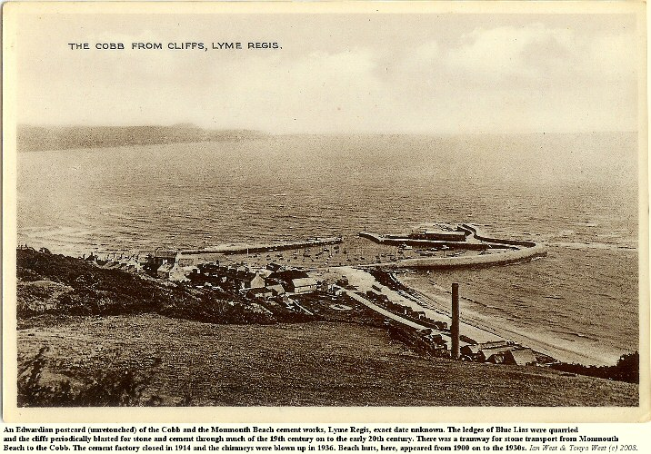 An Edwardian postcard showing the Cobb and the Monmouth Beach cement works at Lyme Regis, Dorset