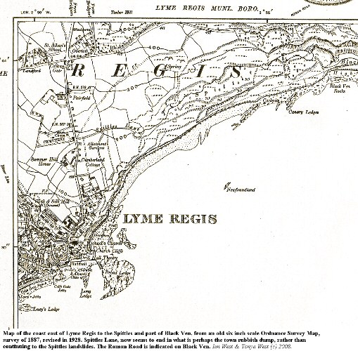 Part of an 1928, six inch scale, topographic map of part of Lyme Regis, and the Spittles area of Black Ven, Dorset