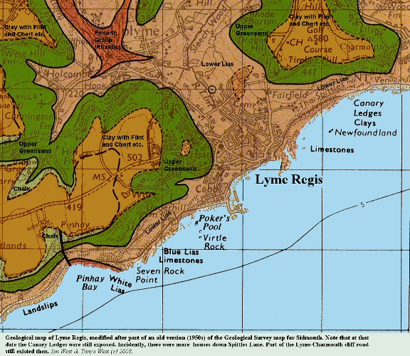 A geological map of Lyme Regis, Dorset, from the 1950s