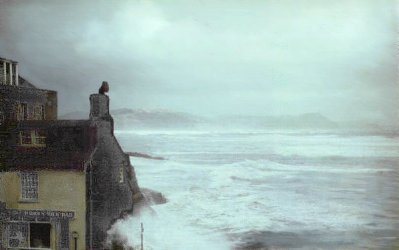 Seafront at Lyme Regis, Dorset in a storm, old photograph