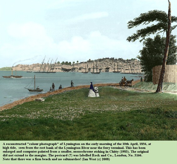 Lymington seen from across the Lymington River, near the ferry terminal, in 1856, before the development of the Spartina saltmarshes, reconstructed image by Ian West