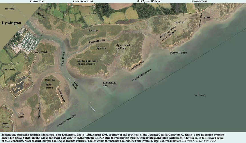 An aerial overview  of the saltmarshes near Lymington, West Solent, Hampshire, August 2005, based on the CCO images