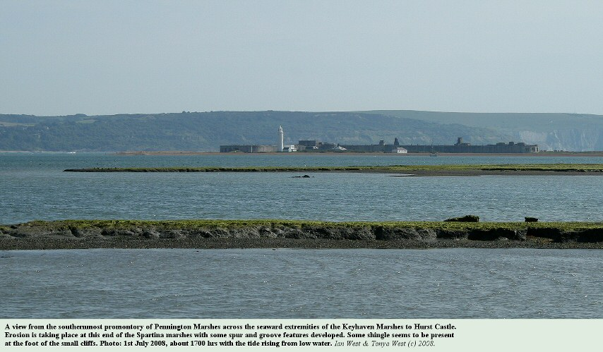 The eroding, seaward projections of the Keyhaven saltmarshes, seen from the southern promontory of Pennington Marshes, looking towards Hurst Castle and the Isle of Wight,  1st July 2008