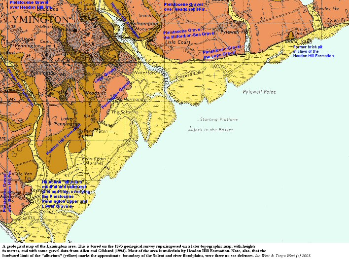 Detailed geology of the Lymington area, Hampshire, as shown on an old geological map