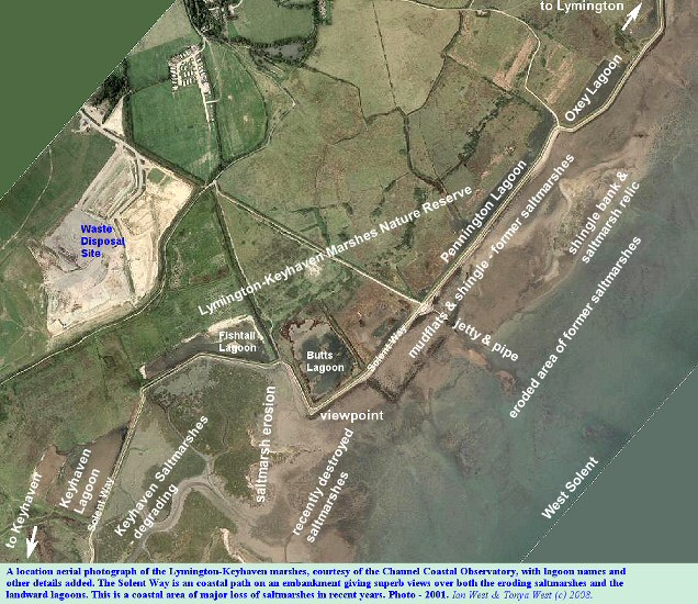 An overview aerial photograph with location details shown, for the Lymington-Keyhaven Marshes, including Pennington Marshes