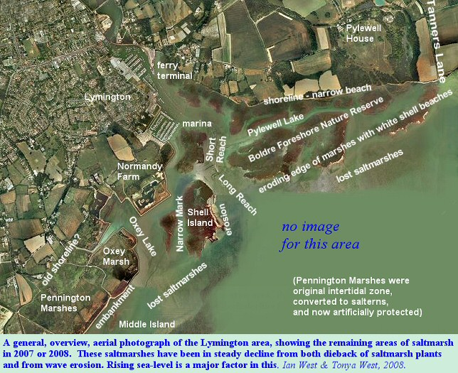 An overview aerial photograph of the Lymington area, 2007 or 2008