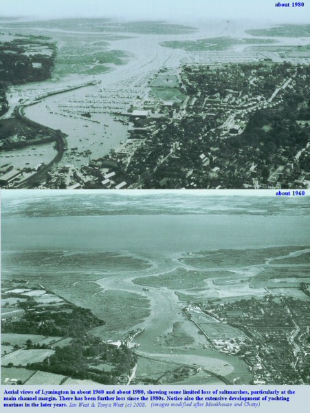 Changes in the Lymington area, West Solent, Hampshire, including some retreat of saltmarshes, from about 1960 to 1980, oblique aerial views