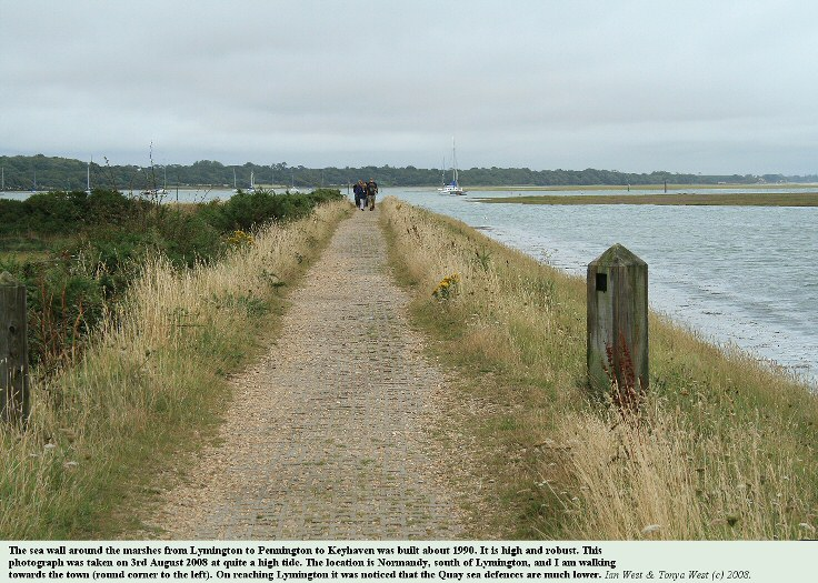 The sturdy sea wall around the marshes at Normandy, south of Lymington, Hampshire, August 2008