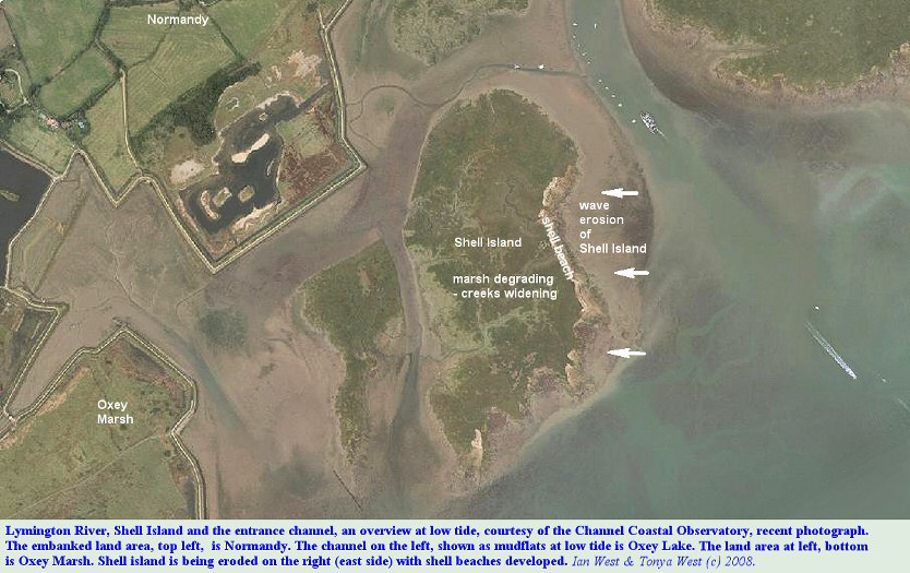 A recent aerial photograph overview of Shell Island near the entrance channel to Lymington Harbour, West Solent, Hampshire