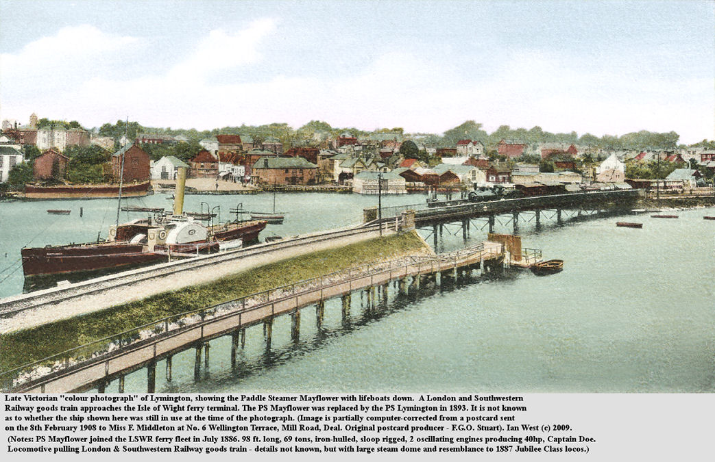 Lymington, Hampshire, as seen in a coloured photograph from Late Victorian or early Edwardian times, with the paddle steamer Mayflower, adjacent to the London and Southwestern Railway line