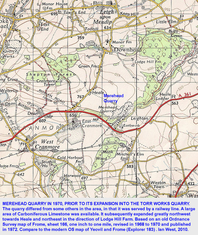 Map showing Merehead Quarry in 1970, eastern Mendip Hills, Somerset