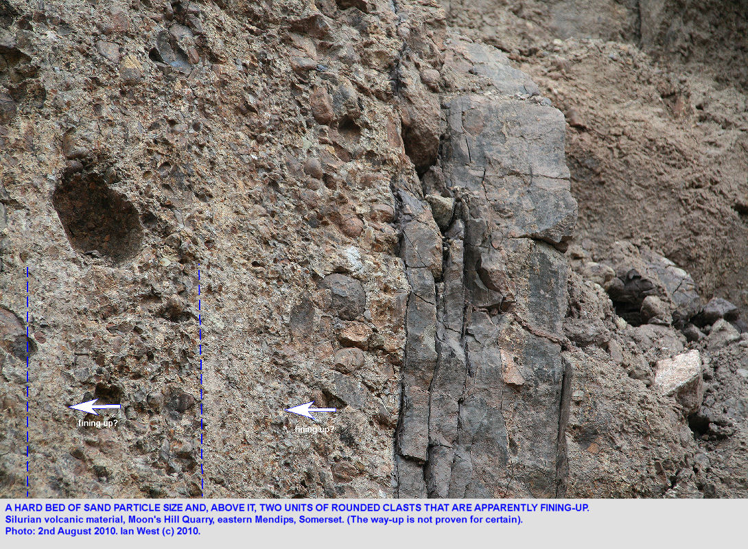 Moon's Hill Quarry, Somerset, Silurian volcanics, a finer bed and two fining-upward units