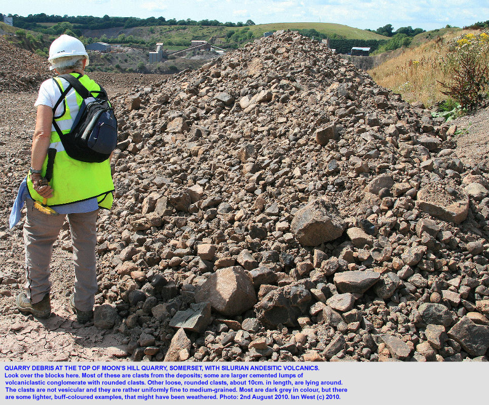 Quarry debris, showing rounded clasts, at Moon's Hill Quarry, Silurian volcanics, Mendip Hills, Somerset, 2010