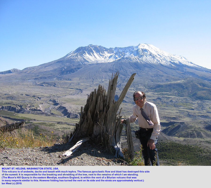 Mount St  Helens with andesite, dacite and basalt and much tephra, Washington, USA, for comparison with the igneous rocks of Moon's Hill Quarry, eastern Mendips, England