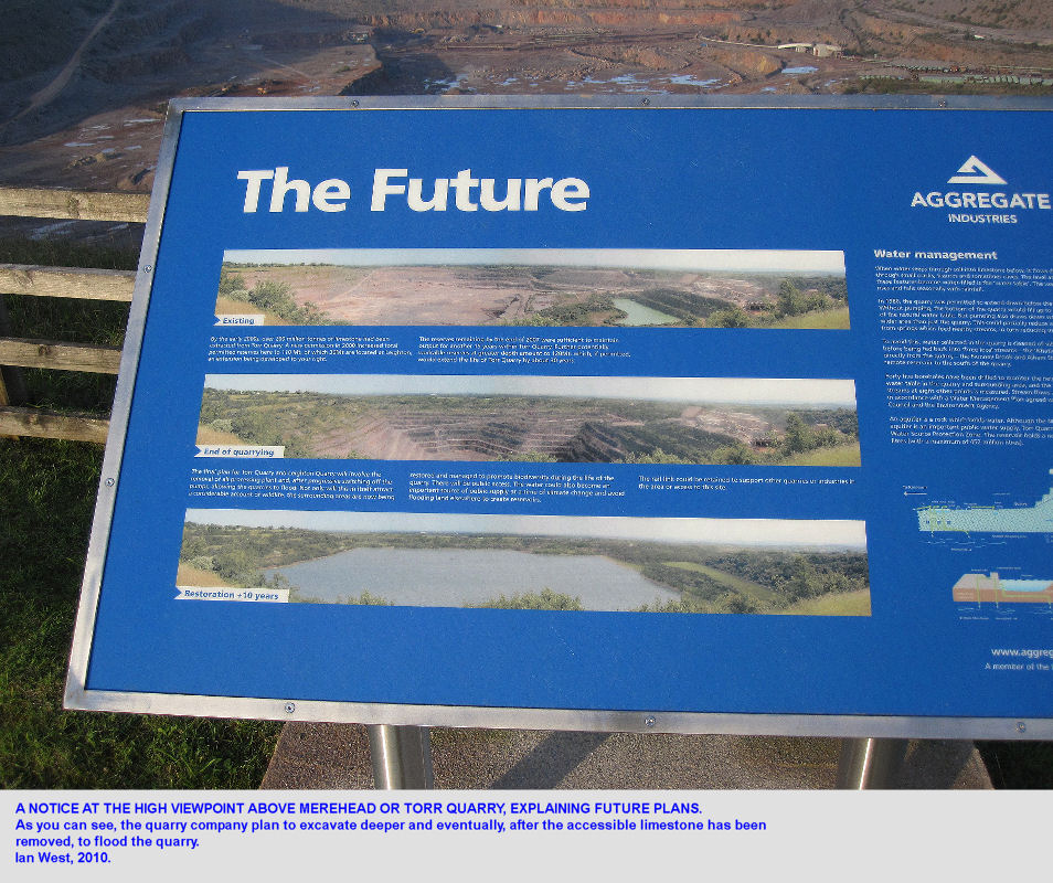 Notice at Torr Works Quarry, Mendip Hills, Somerset, showing future plans