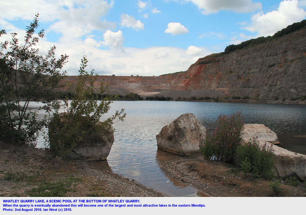 Lake at the bottom of Whatley Quarry, East Mendip Hills, Somerset