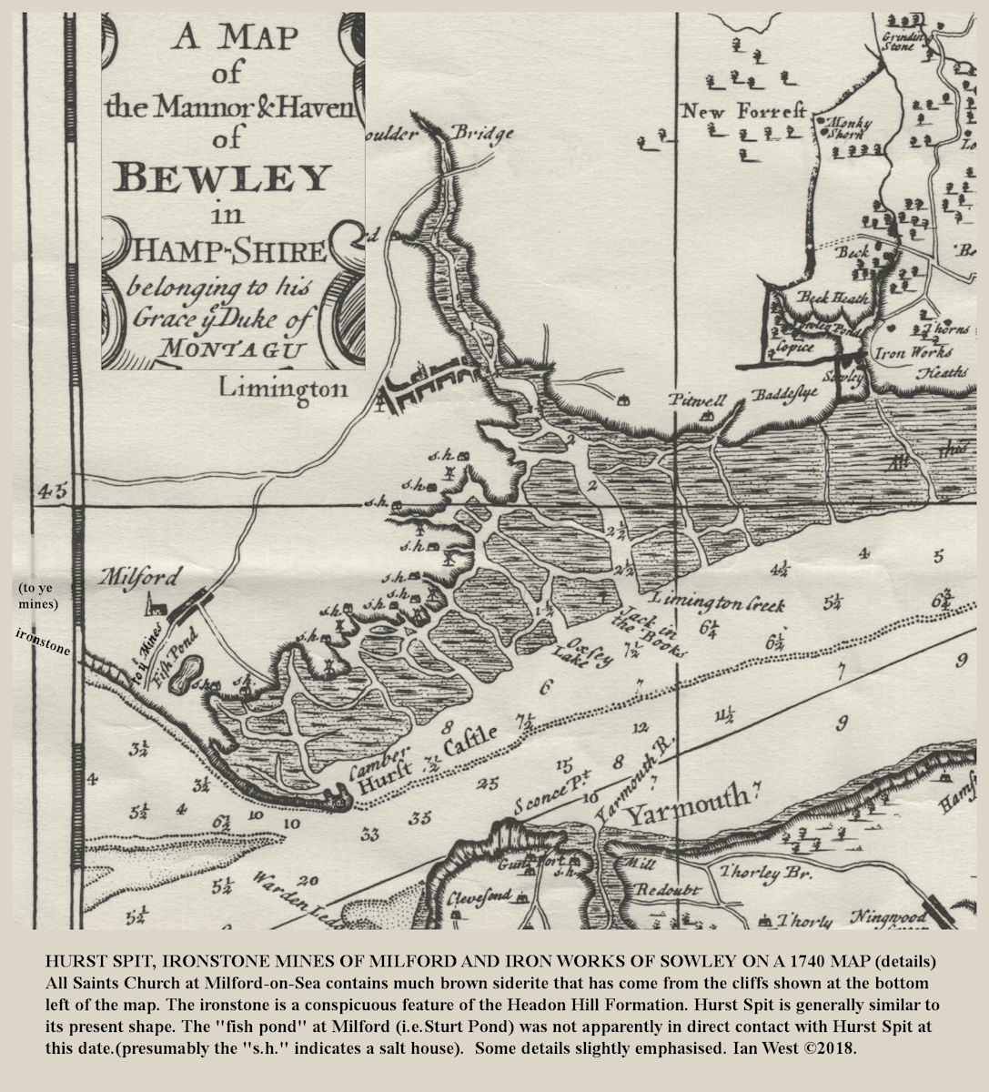 A map of Hurst Spit, Milford-on-Sea, Lymington and Sowley areas in 1740, showing locations of ironstone mining and iron ore production