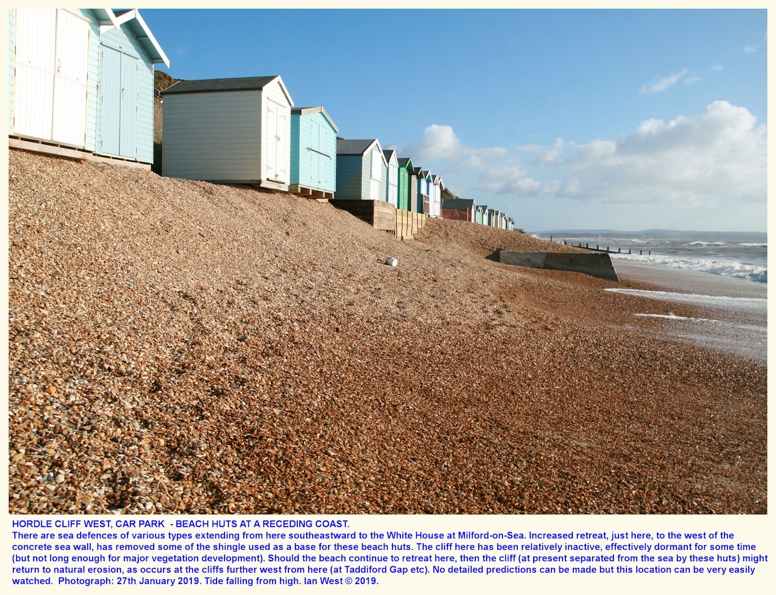 Broader view of coastal erosion and loss of beach material that is taking place in part of the area of huts adjacent to the  so-called, Hordle Cliff West, car park, January 2019