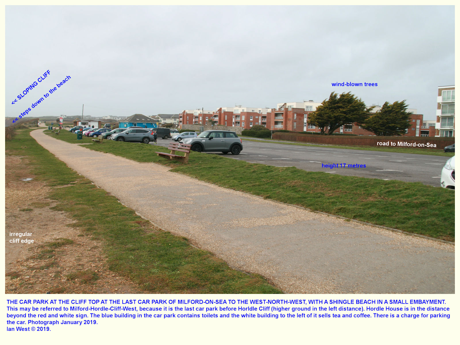 This western car park of Milford-on-Sea is above a shingle beach and a rather degraded cliff, with beach huts