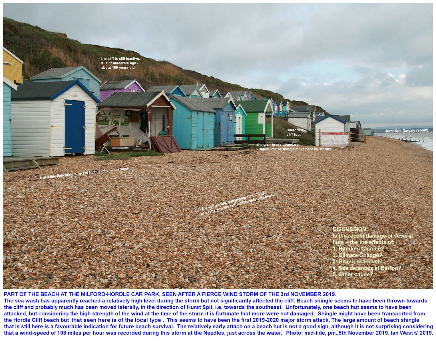 Beach huts, with one damaged by a storm of 3rd November 2019, as seen on the shingle beach near Milford-on-Sea, Hordle Cliff (West) car park, 5th November 2019