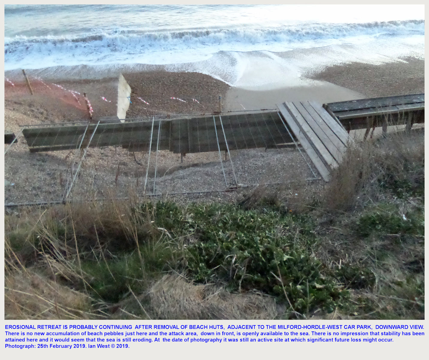 A view from above of recent sea erosion effects near some of the beach hut at Milford-on-Sea, Hordle Cliff (West) car park, 25th February 2019 - category huts